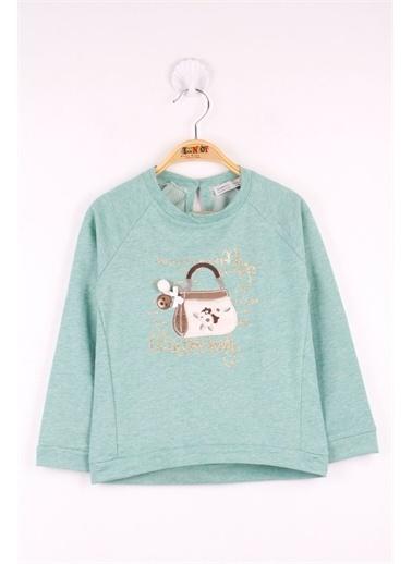 Toontoy Toontoy Kız Çocuk Çanta Nakışlı Sweatshirt Yeşil
